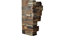 """12""""W Board Side & 11""""W Finger Side Dry Stack Faux Stone Outer Corner Siding Panel Redstone"""