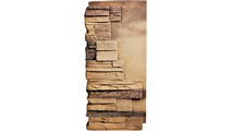 """12""""W Board Side & 11""""W Finger Side Dry Stack Faux Stone Outer Corner Siding Panel Front"""