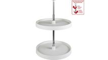 "18"" Diameter Round Plastic Lazy Susan Set with Twist and Lock Pole"
