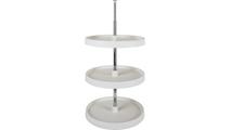 "18"" Diameter Round Plastic Lazy Susan Set with Twist and Lock Pole - 3 Shelves"