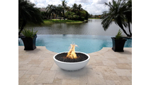27 Inch Limestone Sevilla Fire Bowl in poolscape