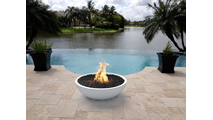 33 Inch Limestone Sevilla Fire Bowl in poolscape