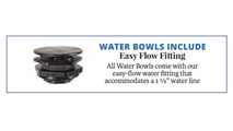 Fire & water bowl comes with an easy flow fitting