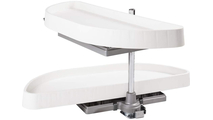 "32"" Half-Moon Lazy Susan Set with White Plastic Trays View 2"