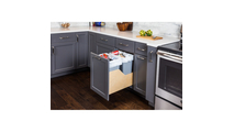 Pre-Assembled 35 Quart Double Pullout Waste Container System in Grey