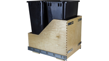 Pre-Assembled 50 Quart Double Pullout Waste Container System in Black