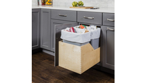 Pre-Assembled 50 Quart Double Pullout Waste Container System in Grey