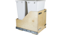 Pre-Assembled 50 Quart Double Pullout Waste Container System in White
