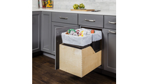 Pre-Assembled 35 Quart Double Pullout Waste Container System in Black Cans