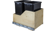 Pre-Assembled 35 Quart Double Pullout Waste Container System in Black Cans View 2