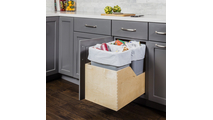 Pre-Assembled 35 Quart Double Pullout Waste Container System in White Cans