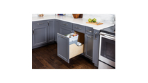 Pre-Assembled 35 Quart Single Pullout Waste Container System in Grey