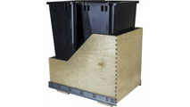 Pre-Assembled 50 Quart Double Pullout Waste Container System in Black Cans
