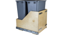 Pre-Assembled 50 Quart Double Pullout Waste Container System in Grey Cans