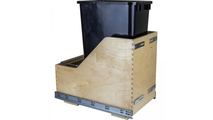 Pre-Assembled 50 Quart Single Pullout Waste Container System in Black