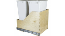 Pre-Assembled 50 Quart Double Pullout Waste Container System in White Cans