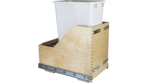 Pre-Assembled 50 Quart Single Pullout Waste Container System in White