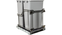 35 Quart Storage With Style Metal Double Trashcan Black Nickel with Grey