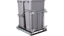 35 Quart Storage With Style Polished Chrome Trashcan Pullout with Soft-close Slides in Grey