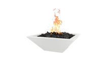 """24"""" Square Madrid Concrete Fire Bowl With 12 Volt Electronic Ignition System"""