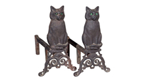 Cat Andirons in Black with Reflective Glass Eyes