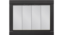 Cameron Fireplace Door in Charcoal & with Gray Tempered Glass Bi-Fold Doors