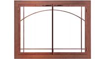 Carolina Masonry Fireplace Door With Sunrise Window Pane - Copper Fire Finish