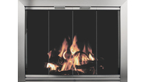 Avaleria Fireplace Glass Door in Brite Nickel with draft assembly in brite nickel finish