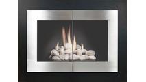 Saratoga Masonry Fireplace Door in Matte Black powder coat main frame & brushed nickel door finish