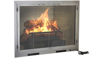 Aragon Masonry Fireplace Door with Grate Heater in Silver powder coat finish