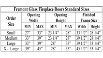Fremont Fireplace Door Sizing Chart