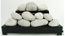 24 Inch ALTERNA FireStones Set with Vent Free Black Burner With Calico FireStone