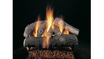 Frosted Oak Vented Gas Log Set On FX Burner
