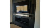 Finished project with Brushed Stainless Steel Mantel Shelf