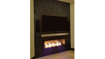 Brushed Stainless Steel Mantel Shelf over customer's fireplace!