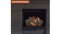 Western Driftwood log set in gas fireplace