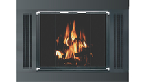 Side Vent Fireplace Refacing With Glass Doors