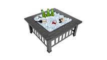 Square Courtyard Wood Burning Fire Pit 32 Inch Used As Ice Cooler
