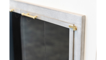Traditional Brushed White Masonry Fireplace Door With Satin Brass Handles & Hinges