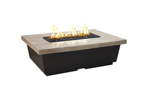 52 Inch Rectangle Contempo Fire Table With Silver Pine Top