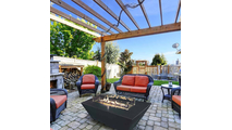 Rectangular Black Charcoal Fire Table In Outdoor Setting
