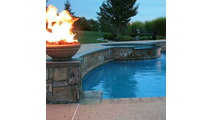 Round ribbed concrete fire bowl natural gas or propane