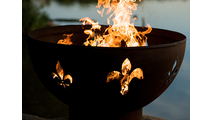 Fleur de Lis Gas Fire Pit Burning
