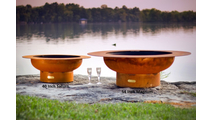 The Saturn fire pit left and the Magnum Fire Pit on the left