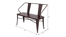59 Inch Wrought Iron Lift Tea Table Bench