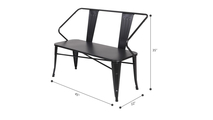 45 Inch Outdoor Loveseat Bench in Pure Iron