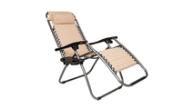 Outdoor Recliner Patio Lounge Chairs with Saucer Khaki
