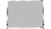 Brushed Stainless Steel Glass Panel Fireplace Screen