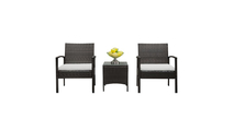 Brown Gradient Rattan Seating Group with Cushions