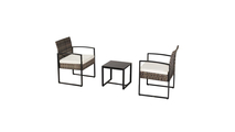 Grey Rattan Patio Furniture Set with a Wood Table